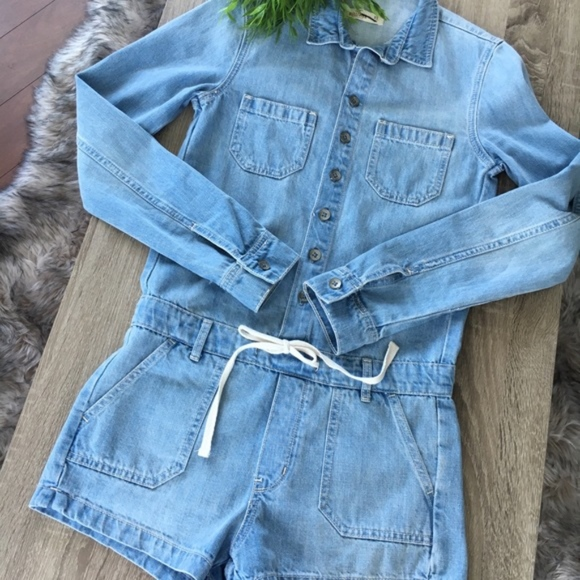 474e19c80a24b Hollister Pants | Chambray Blue Denim Romper Jumpsuit Xs | Poshmark